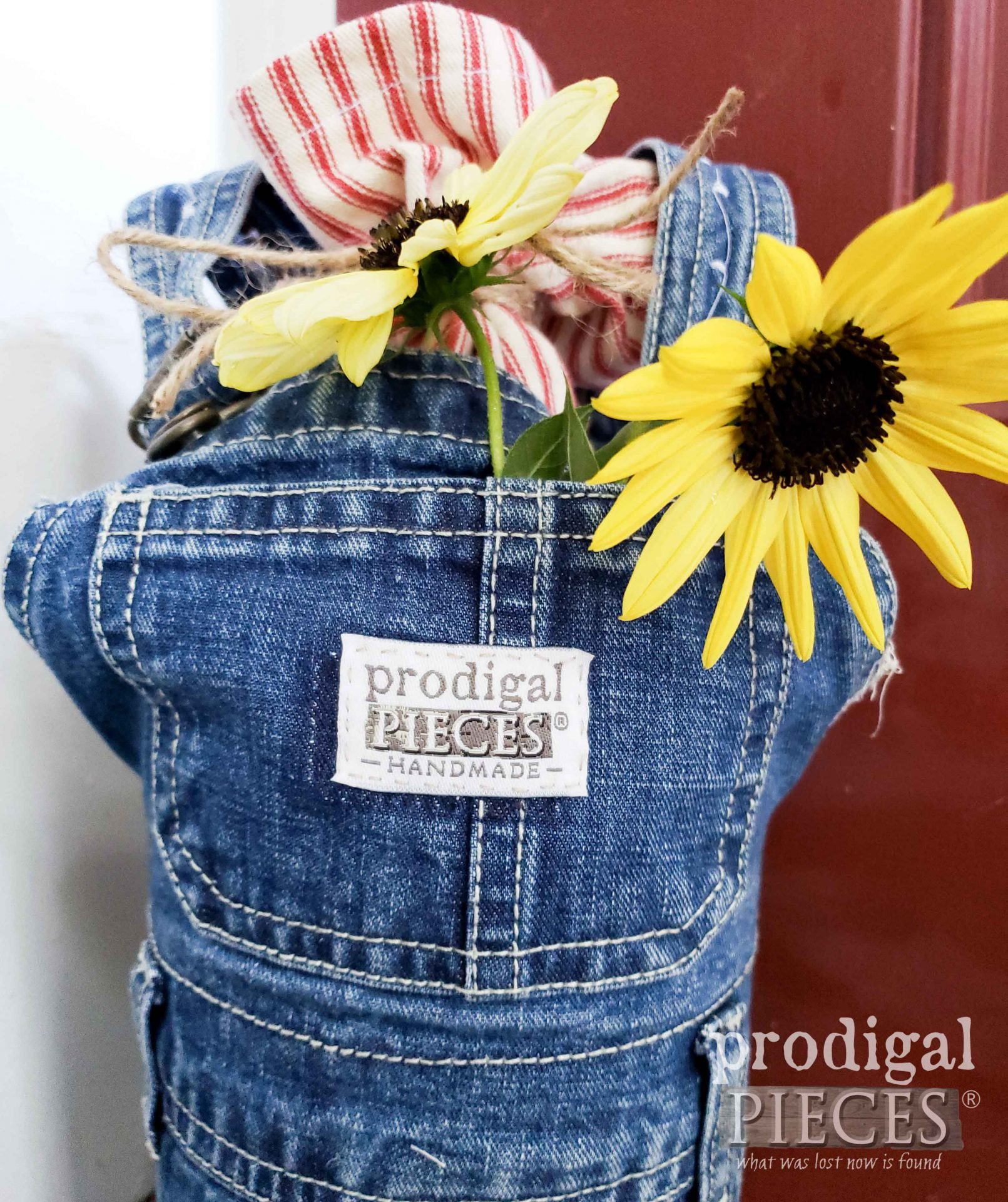 Handmade Doorstop from Upcycled Baby Bib Overalls by Larissa of Prodigal Pieces | prodigalpieces.com #prodigalpieces #diy #home #refashion #kids #homedecor #farmhouse