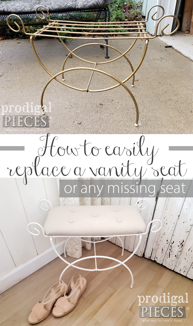 Want to know how to replace a vanity seat (or any seat)? Let Larissa of Prodigal Pieces show you how | Head to prodigalpieces.com #prodigalpieces #diy #home #homedecor #diy #vintage #linen #farmhouse