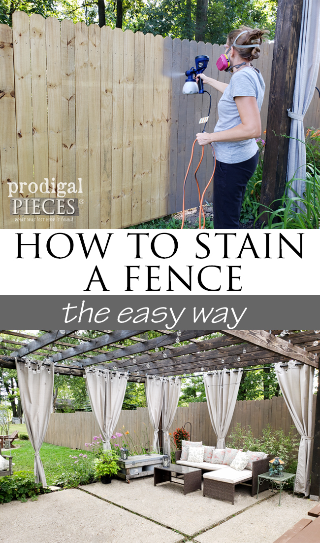 Adding a fence to your yard and want to protect your investment? Come see our video demonstration of how to stain a fence the easy way. Fast & affordable! | prodigalpieces.com #prodigalpieces #diy #tools #outdoor #homeimprovement #home #homedecor