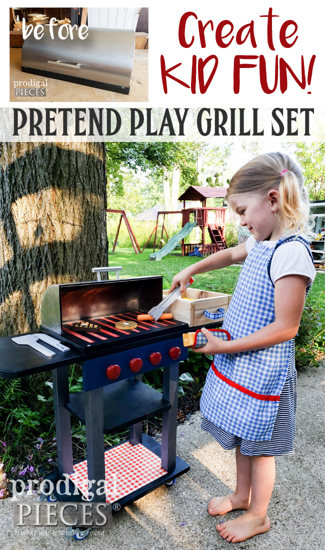 What an absolutely adorable idea! Larissa of Prodigal Pieces upcycled a bread box into a pretend play grill set with all the bells & whistles. Take a peek at prodigalpieces.com #prodigalpieces #handmade #kids #toys #shopping #fun #pretend