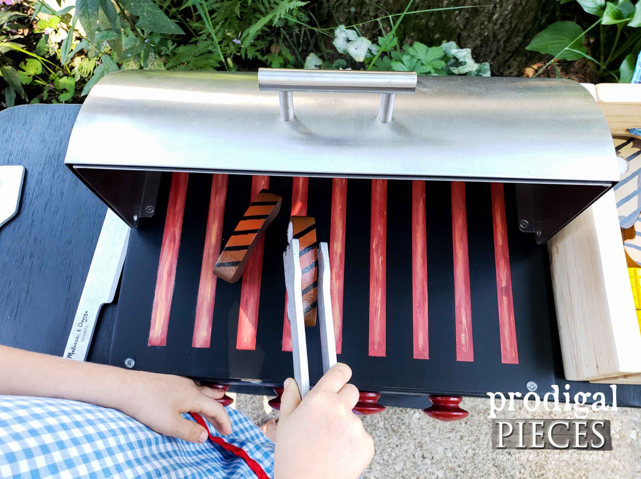 Pretend Play Ribs on Toy Grill by Larissa of Prodigal Pieces | prodigalpieces.com #prodigalpieces #diy #handmade #toys #kids #playtime #pretend