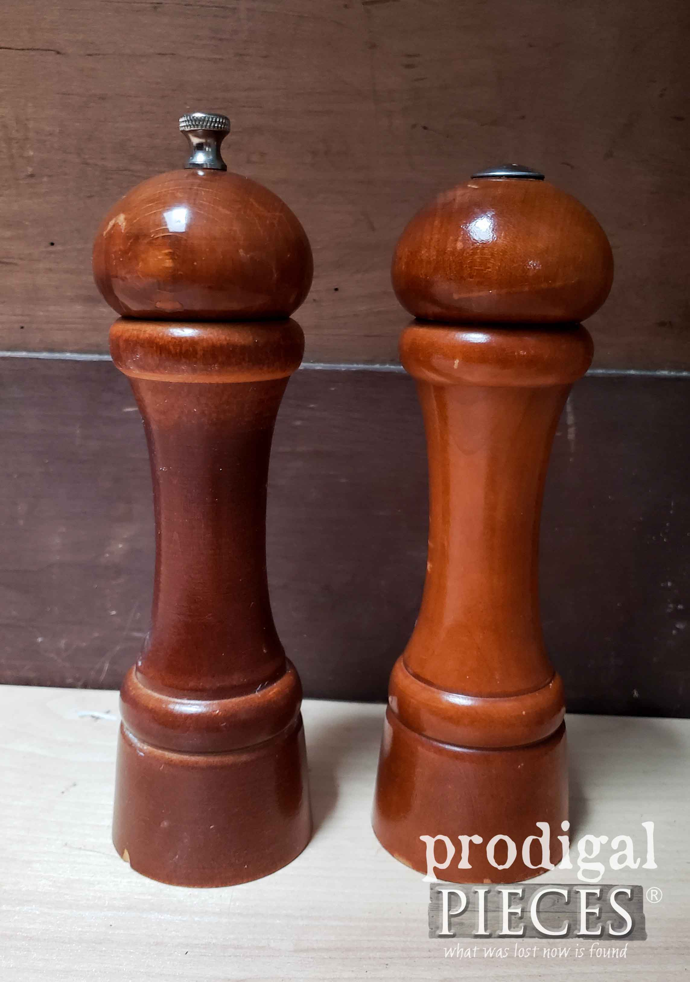 Wooden Salt & Pepper Set Before Makeover by Prodigal Pieces | prodigalpieces.com