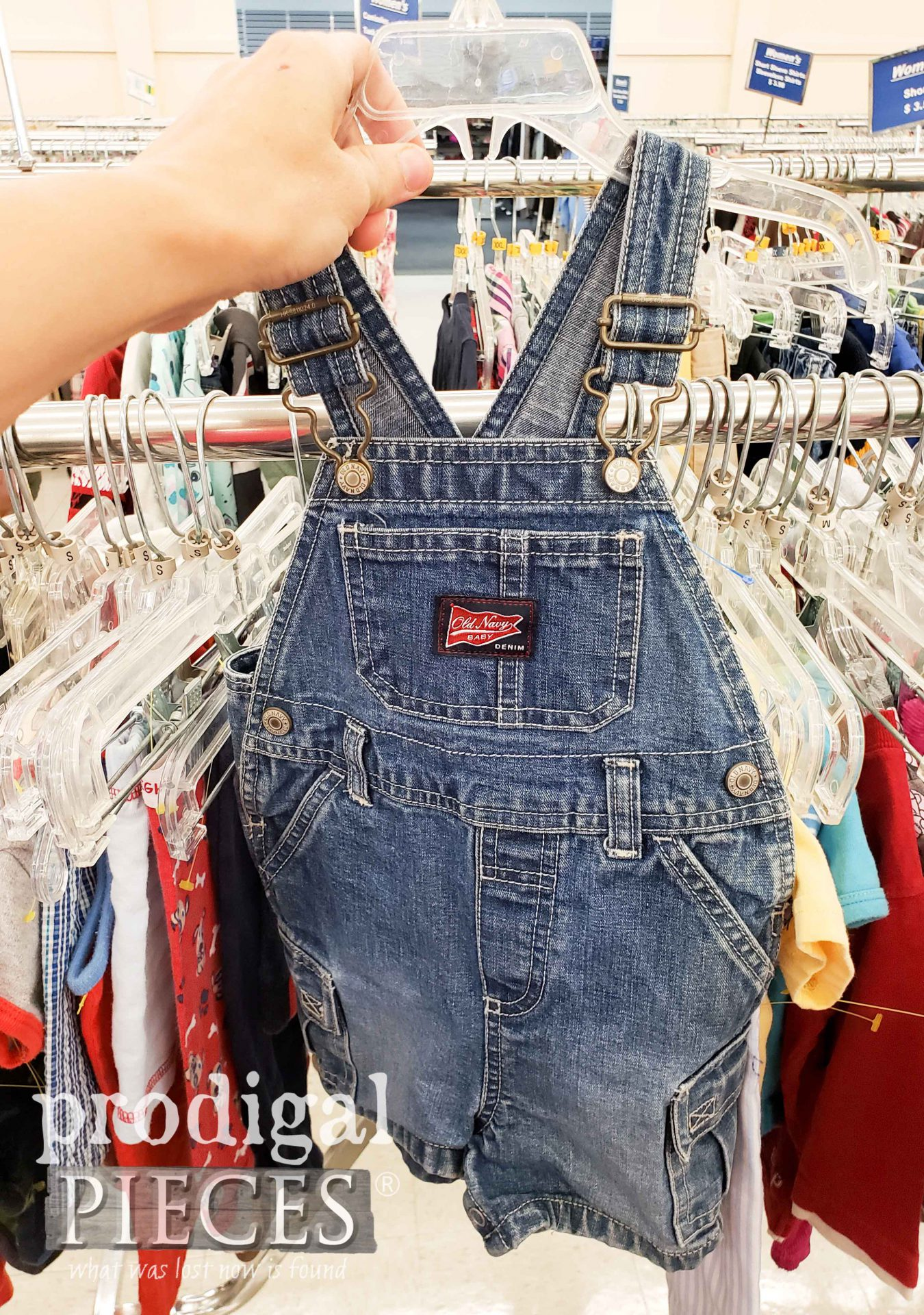 Thrifted Baby Bib Overalls Before Refashion by Prodigal Pieces | prodigalpieces.com