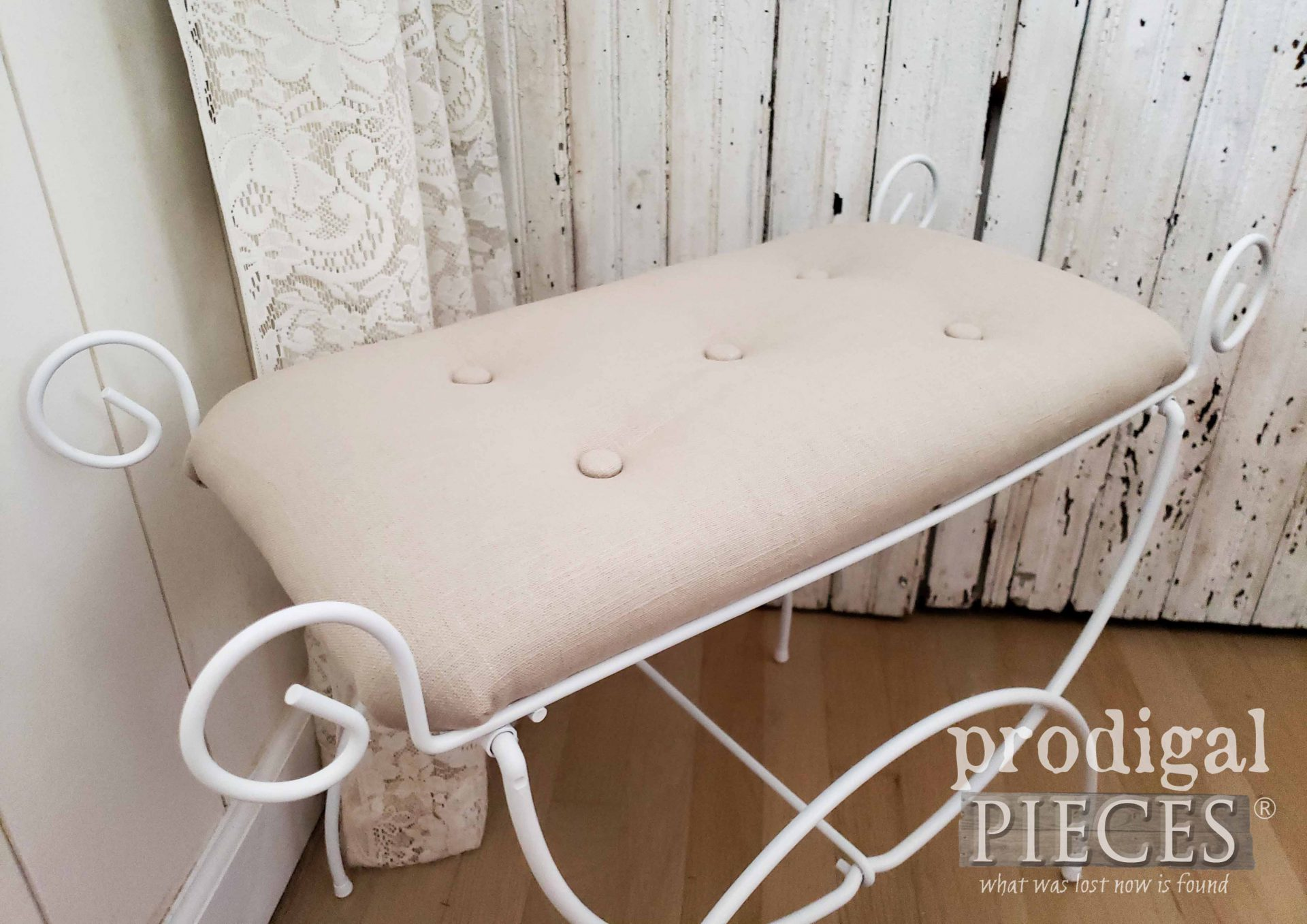 Tufted Linen Vanity Seat with Tutorial by Larissa of Prodigal Pieces | prodigalpieces.com #prodigalpieces #diy #home #homedecor #furniture #farmhouse