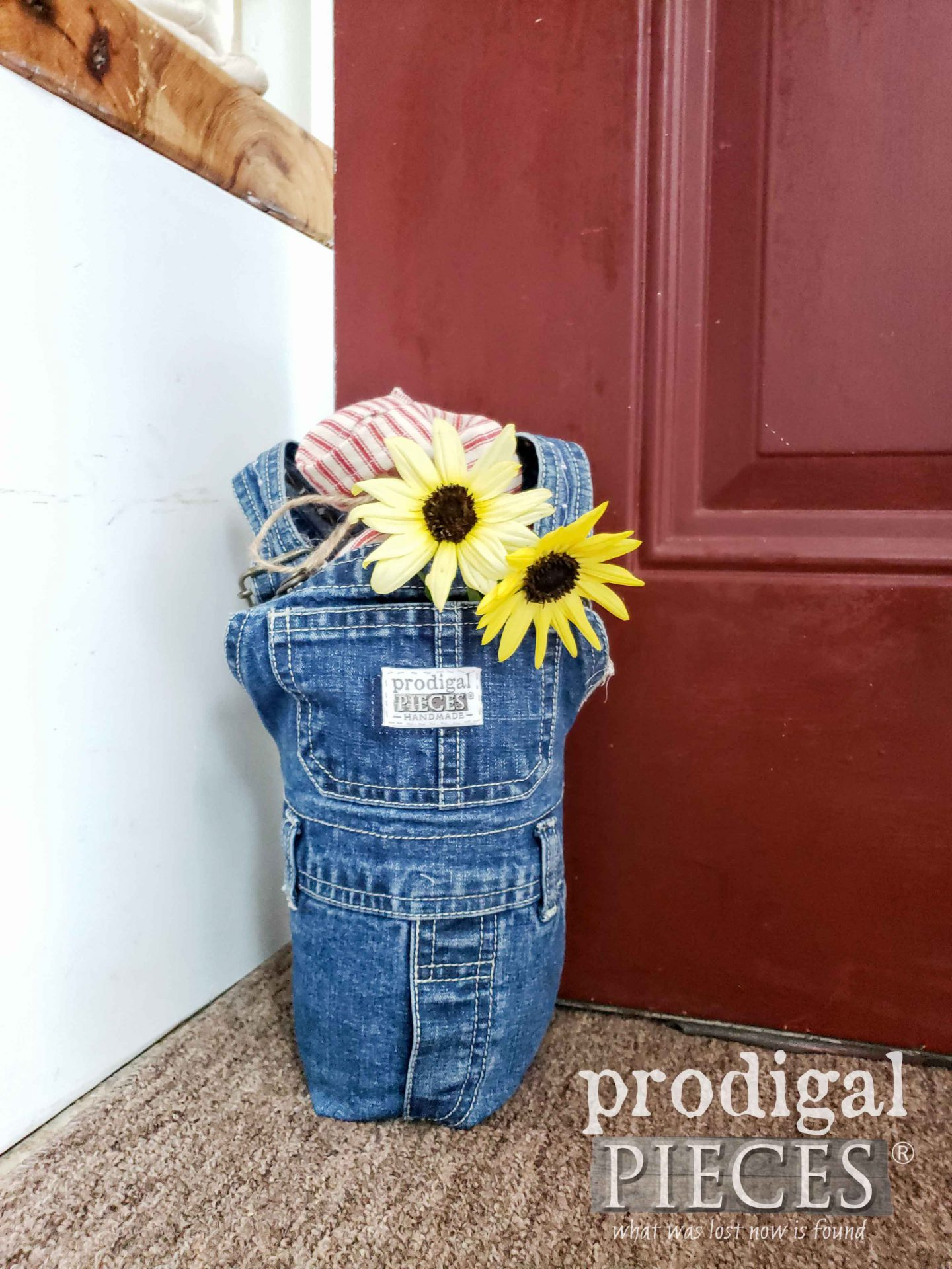 Upcycled Denim Doorstop Created from Baby Bib Overalls by Larissa of Prodigal Pieces | prodigalpieces.com #prodigalpieces #refashion #farmhouse #home #diy #homedecor