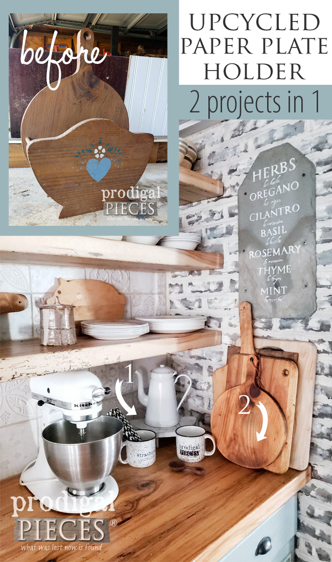 This upcycled paper plate holder became two new farmhouse style decor items for the kitchen. See how Larissa of Prodigal Pieces did it here at prodigalpieces.com #prodigalpieces #farmhouse #home #homedecor #diy
