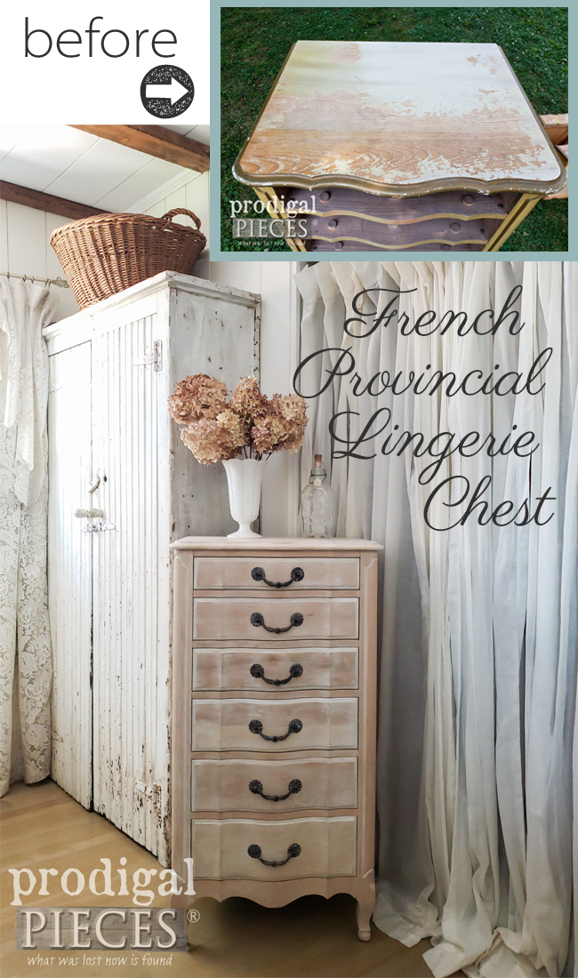 A vintage French provincial lingerie chest was tired and worn, but Larissa of Prodigal Pieces gave it new life with a limewash effect. See the details at prodigalpieces.com #prodigalpieces #diy #home #homedecor #furniture #farmhouse #vintage