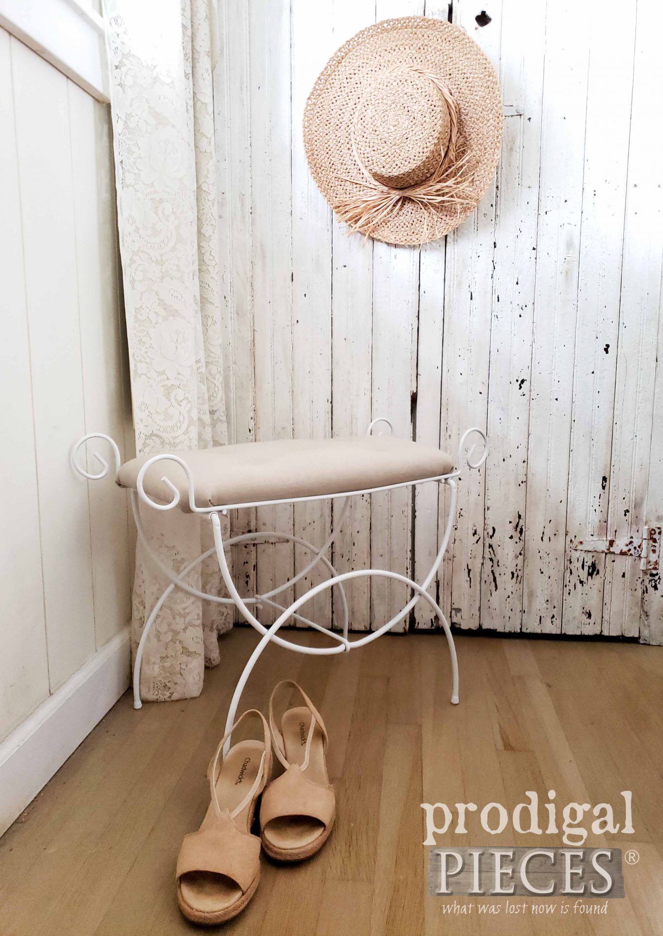 Beautiful Vintage Wire Vanity Seat with Tufted Linen Upholstery | Tutorial by Larissa of Prodigal Pieces | prodigalpieces.com #prodigalpieces #diy #furniture #home #homedecor #farmhouse #vintage