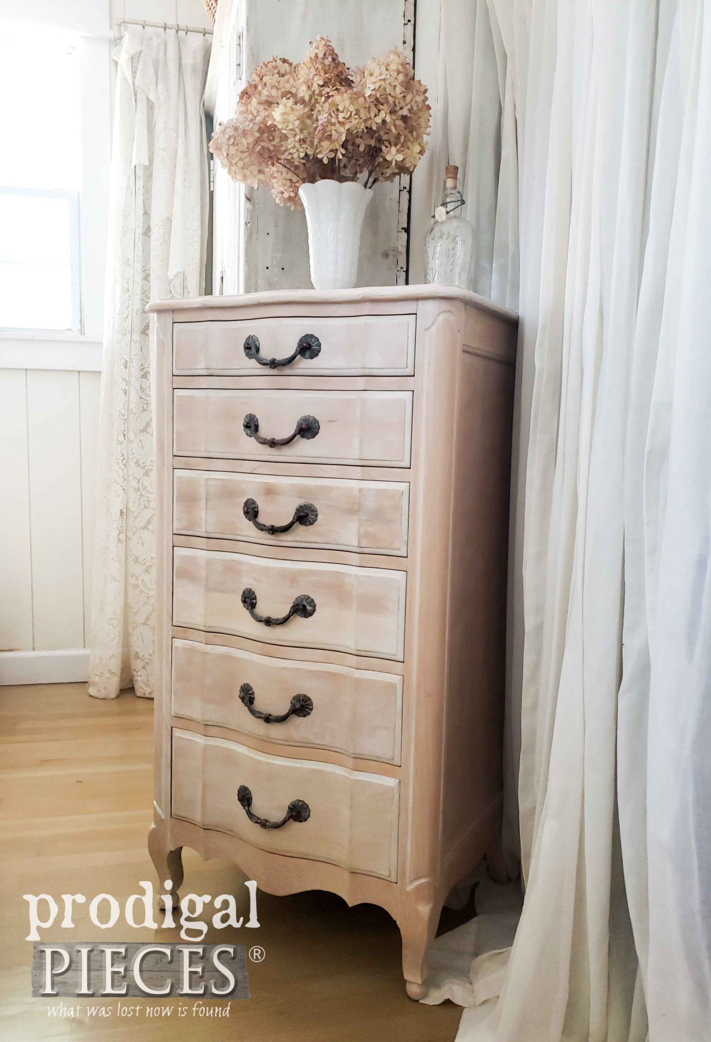 Whitewashed French Style Lingerie Chest by Larissa of Prodigal Pieces | prodigalpieces.com #prodigalpieces #diy #furniture #home #farmhouse #homedecor