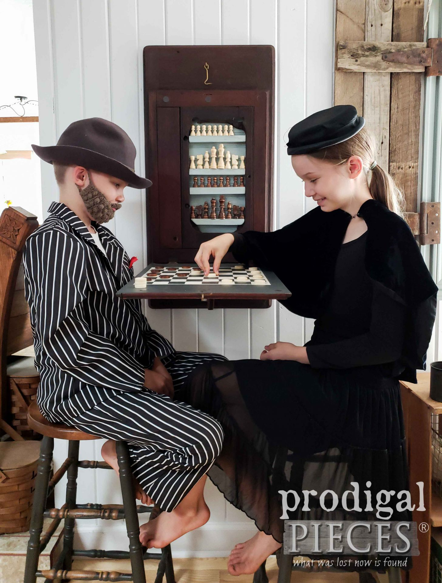 Antique Reclaimed Sewing Machine Chess & Checkerboard Created by Larissa of Prodigal Pieces | prodigalpieces.com #prodigalpieces #diy #farmhouse #home #games #handmade #homedecor