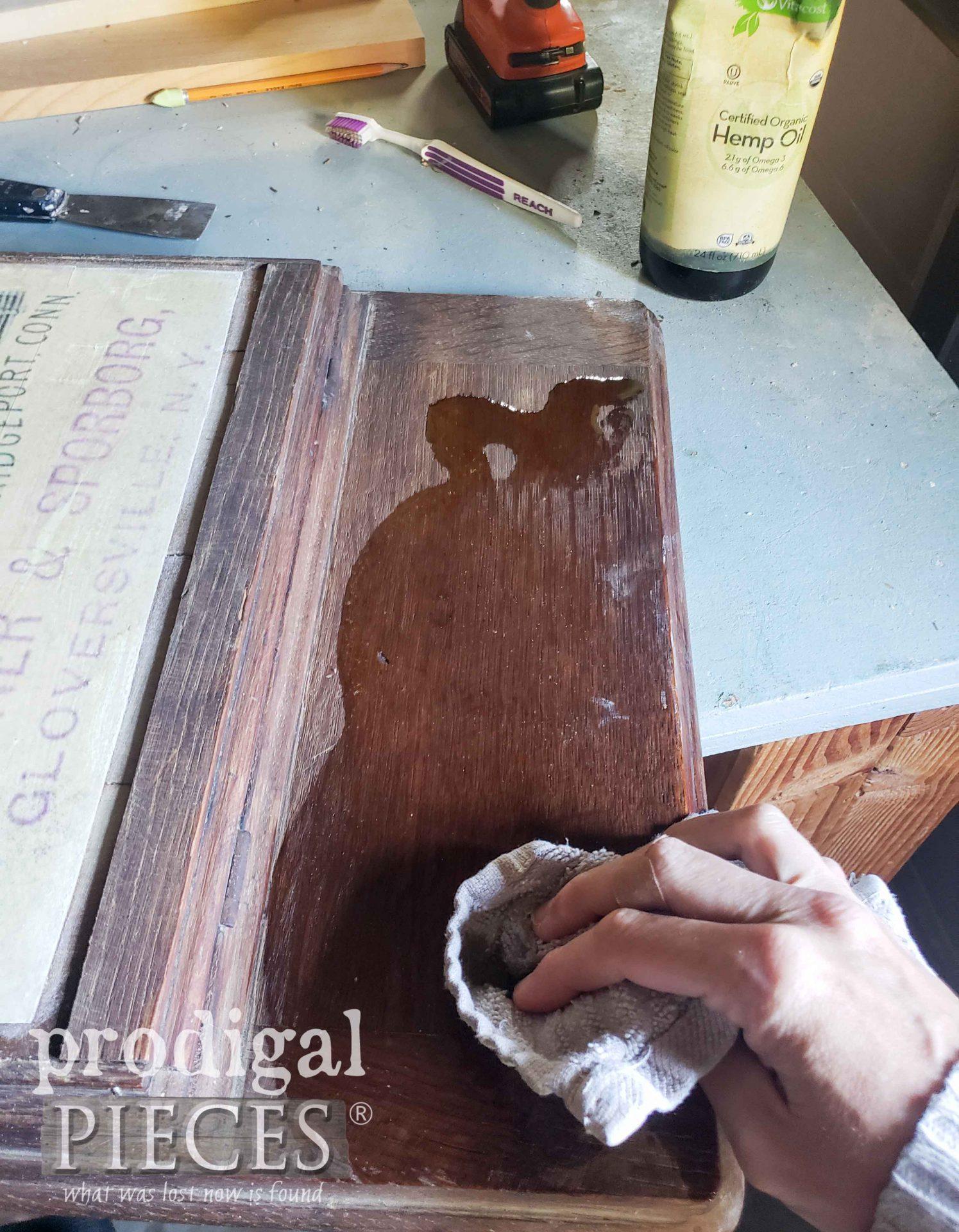 Applying Hemp Oil to Antique Treadle Machine Top | prodigalpieces.com