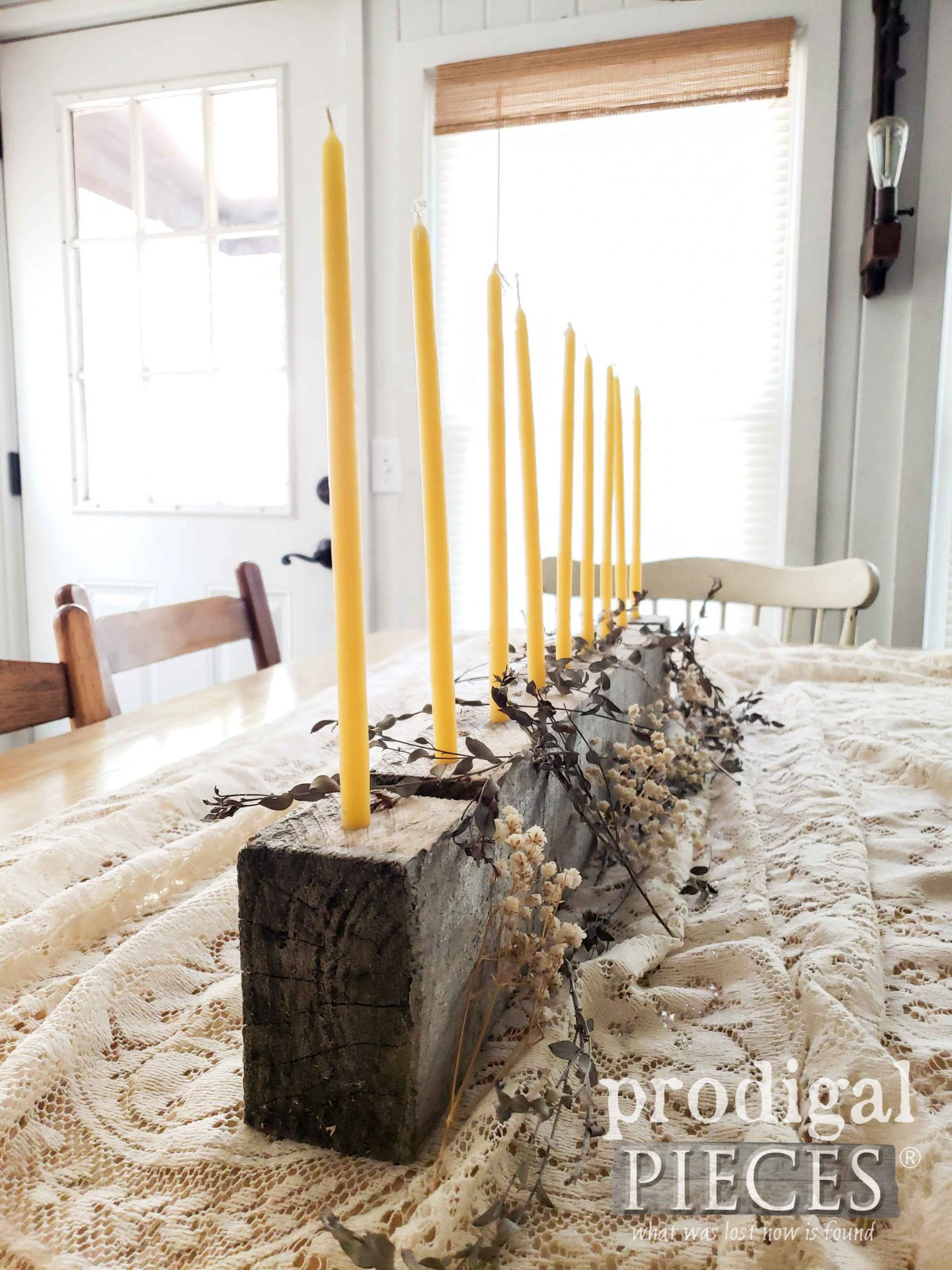 Hand-dipped Beeswax Candle Centerpiece for Farmhouse Decor by Larissa of Prodigal Pieces | prodigalpieces.com #prodigalpieces #home #homedecor #farmhouse #handmade