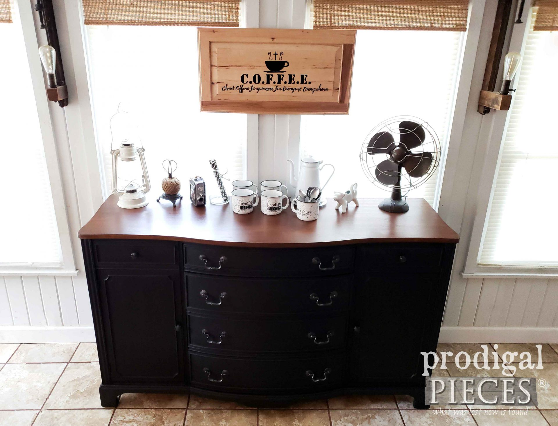 Black Buffet Coffee Bar Top by Larissa of Prodigal Pieces | prodigalpieces.com #prodigalpieces #diy #home #farmhouse #coffee #homedecor