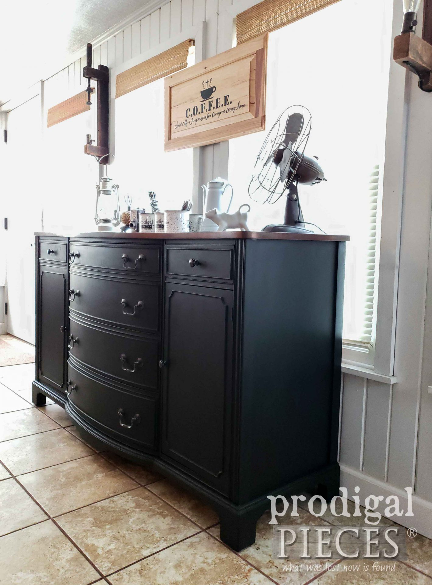 Vintage Bow Front Buffet in Black by Larissa of Prodigal Pieces | prodigalpieces.com #prodigalpieces #diy #home #farmhouse #homedecor #coffee
