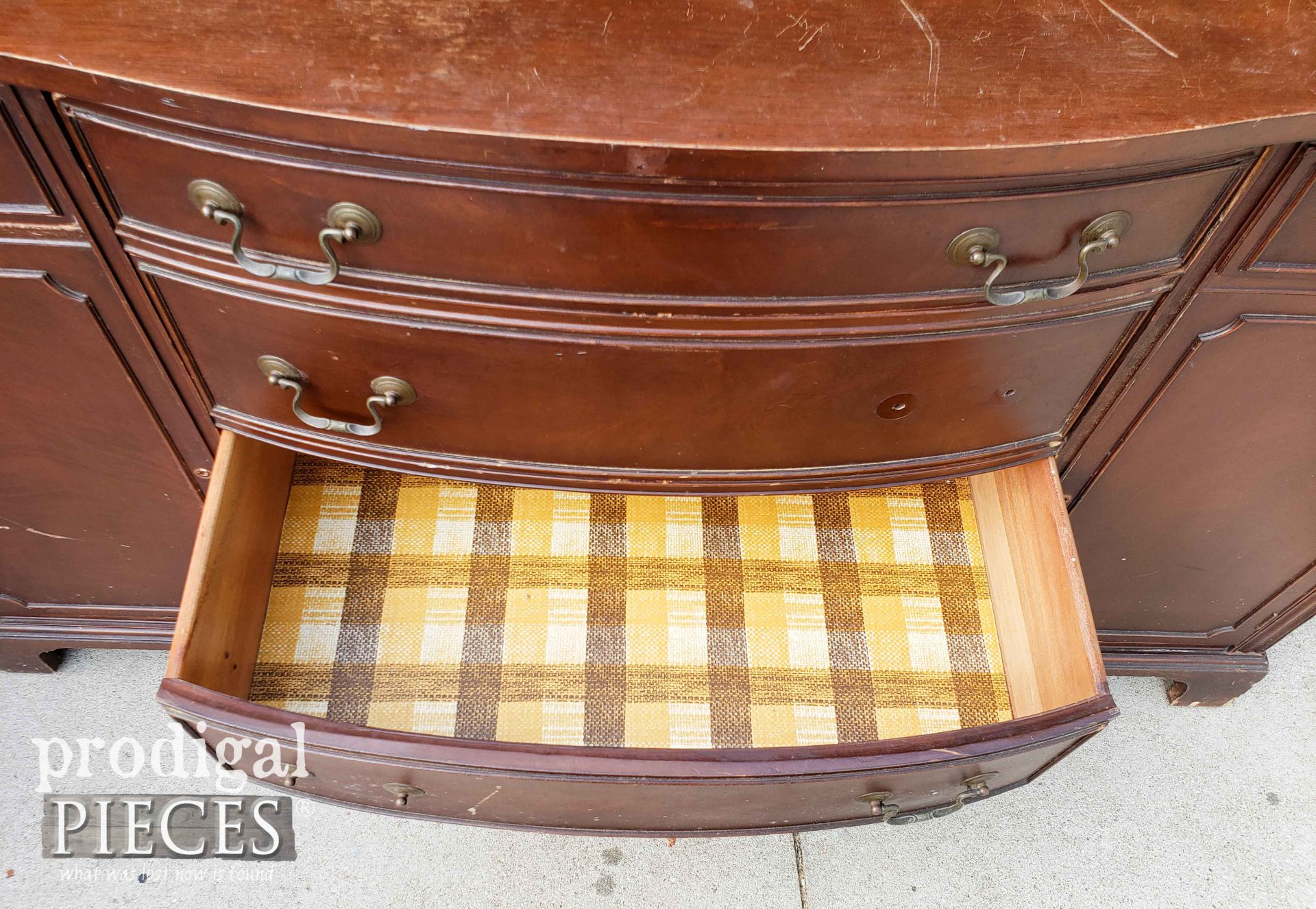 Vintage Buffet with Paper-Lined Open Drawer | prodigalpieces.com