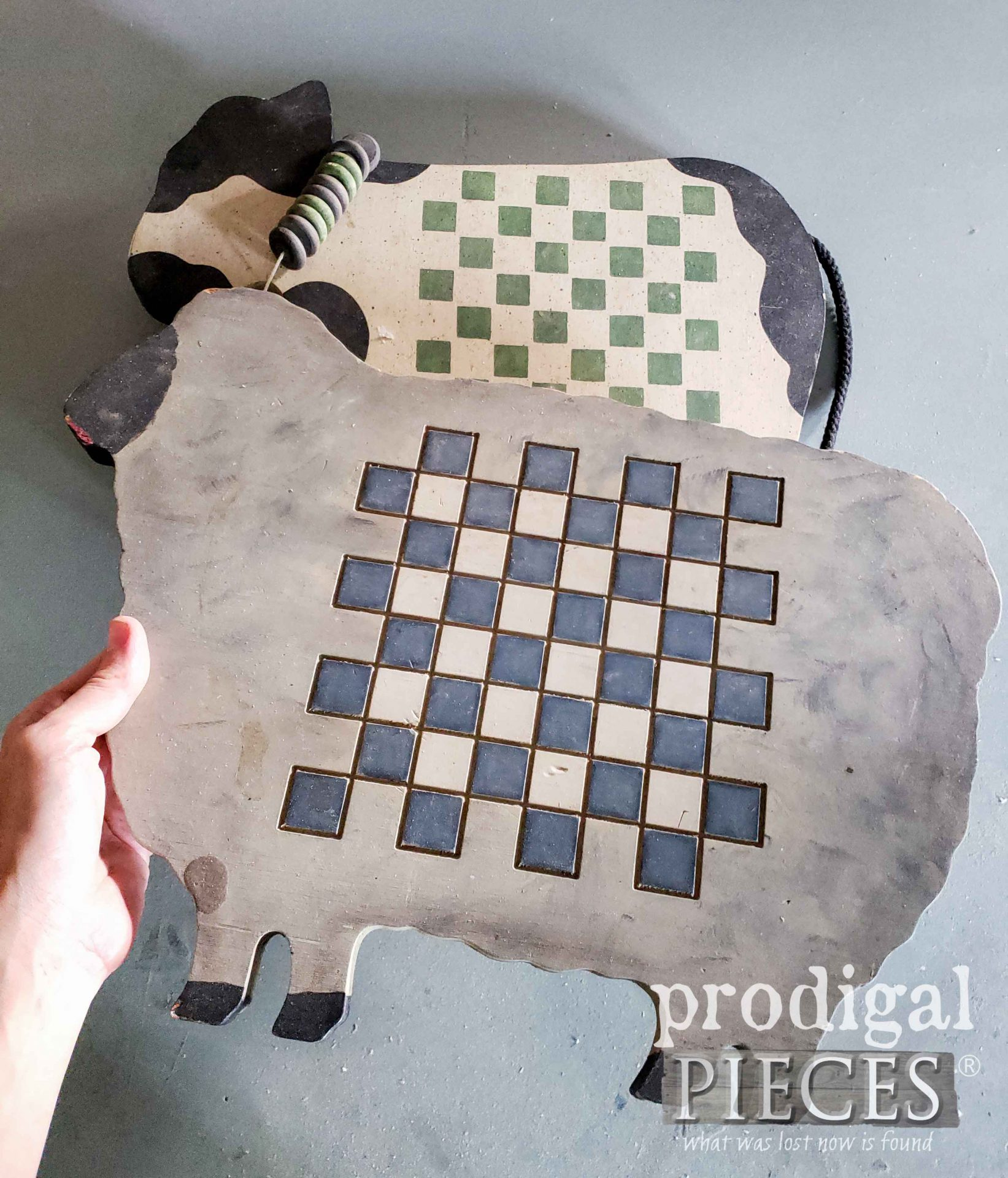 Country Cute Chessboard Sheep before makeover | prodigalpieces.com