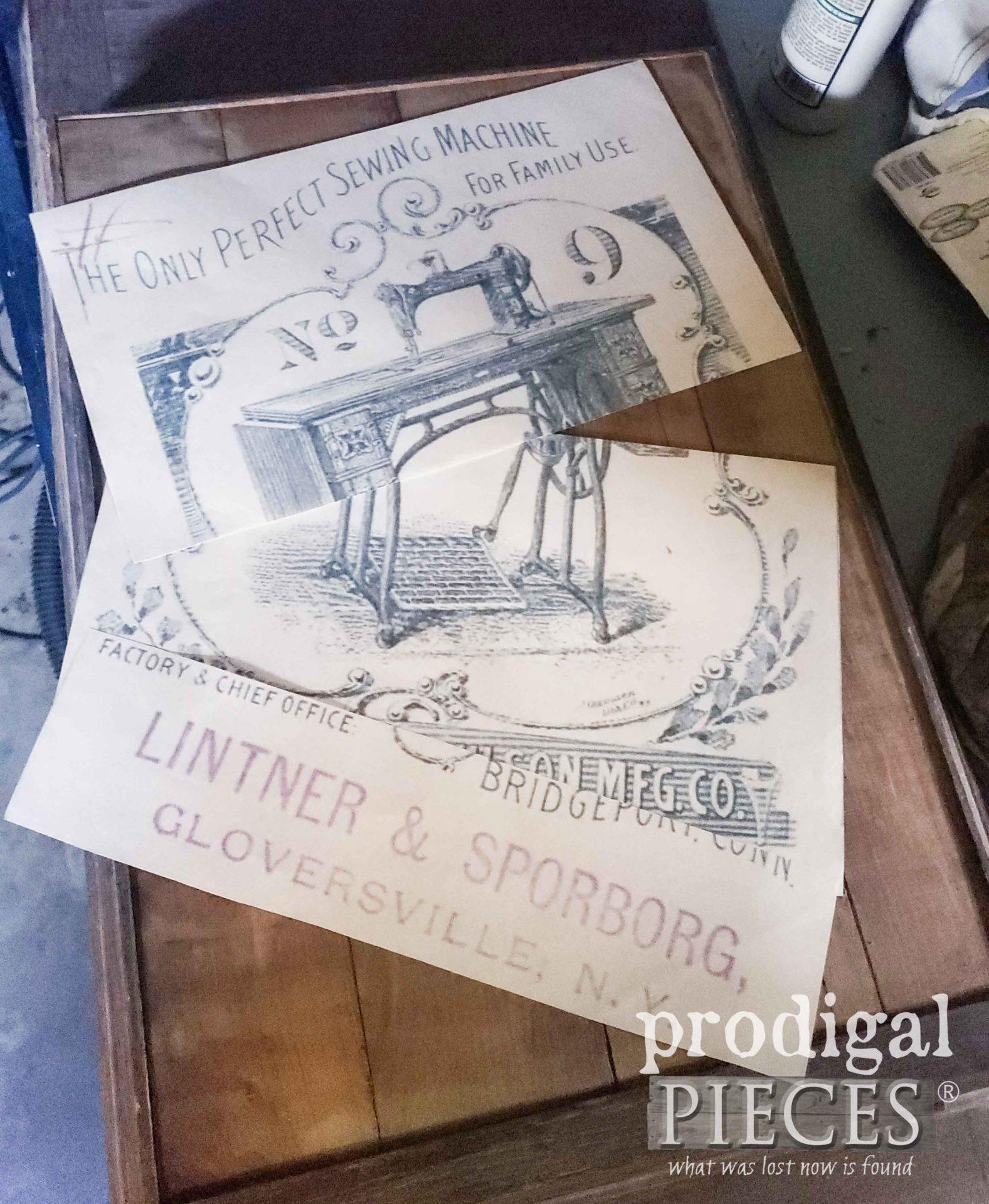 Antique Sewing Machine Decoupage Art | prodigalpieces.com #prodigalpieces