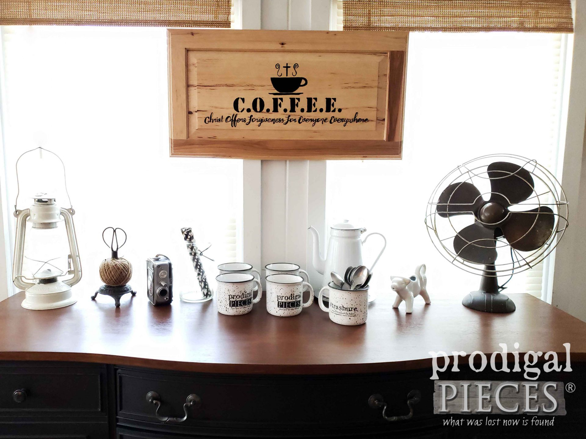 DIY Coffee Bar Created from a Vintage Buffet Makeover by Larissa of Prodigal Pieces | prodigalpieces.com #prodigalpieces #diy #home #coffee #farmhouse #homedecor