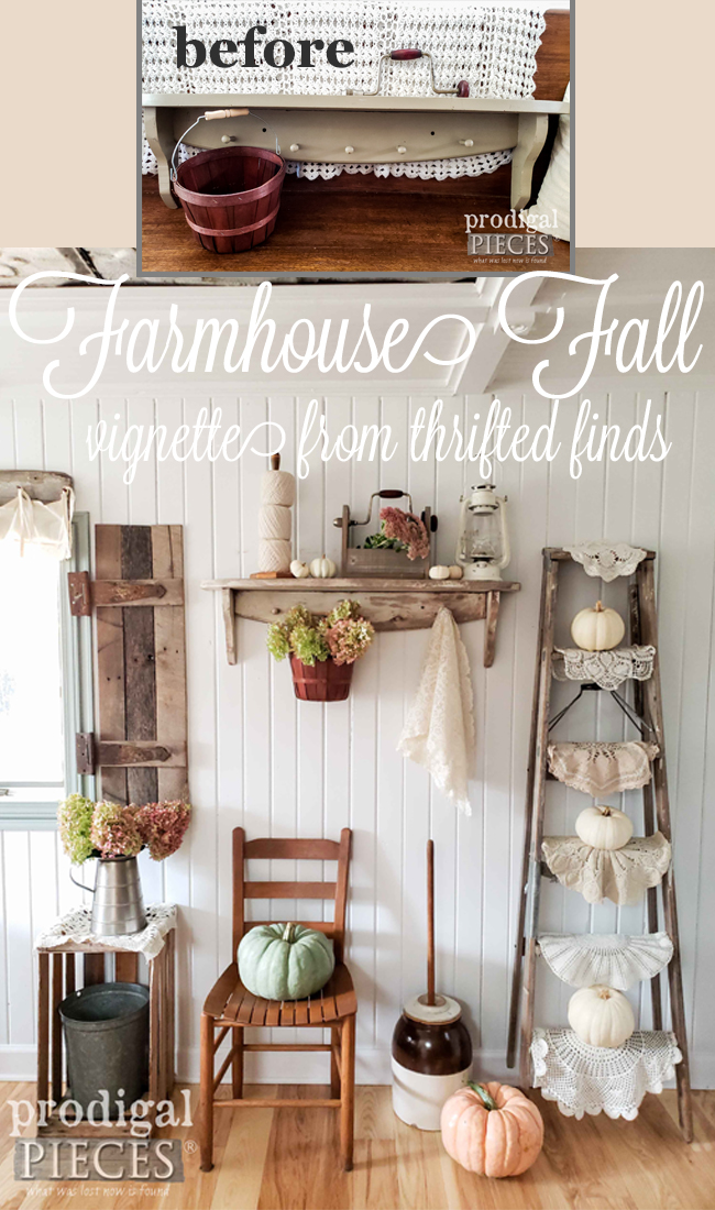 Create your own farmhouse fall vignette without breaking the bank (or going to the box store). Larissa of Prodigal Pieces shows you how in her video tutorial | Head to prodigalpieces.com #prodigalpieces #diy #fall #farmhouse #home #homedecor #autumn