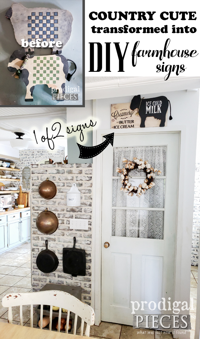 Two country cute thrifted finds become part of a fun DIY farmhouse sign tutorial | Come see the second sign and get the details from Larissa of Prodigal Pieces | prodigalpieces.com #prodigalpieces #farmhouse #home #diy #homedecor #crafts #budgetdecor