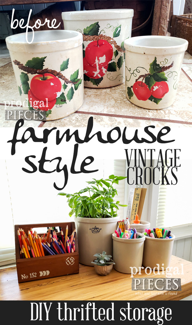 Grab those vintage crocks at the garage sale or thrift store and add them to your farmhouse decor. See the DIY tutorial by Larissa at Prodigal Pieces at prodigalpieces.com #prodigalpieces #farmhouse #vintage #diy #storage #home #homedecor