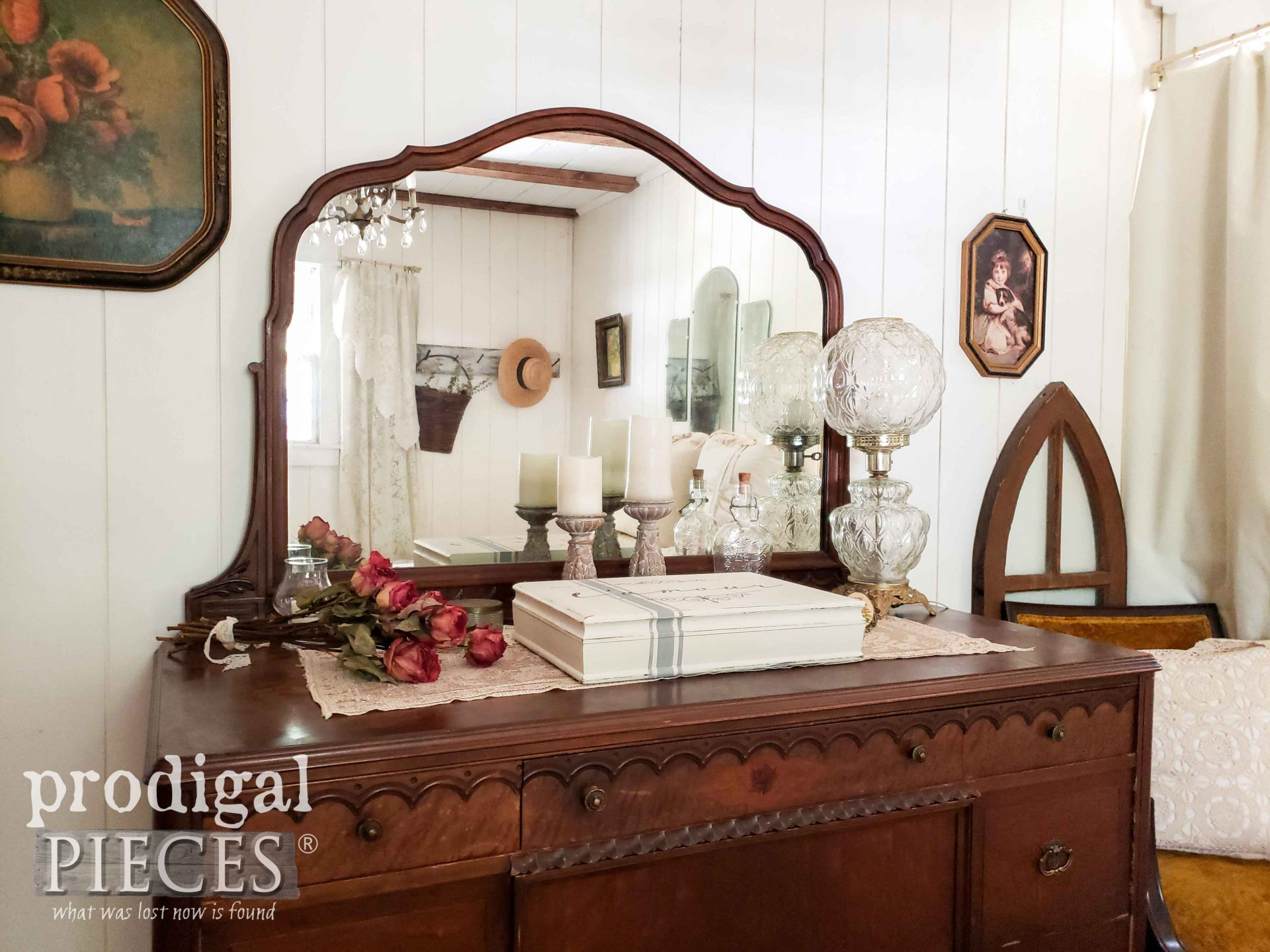 Farmhouse Bedroom with Antique Dresser and DIY Jewelry Box by Larissa of Prodigal Pieces | prodigalpieces.com #prodigalpieces #diy #farmhouse #bedroom #home #homedecor