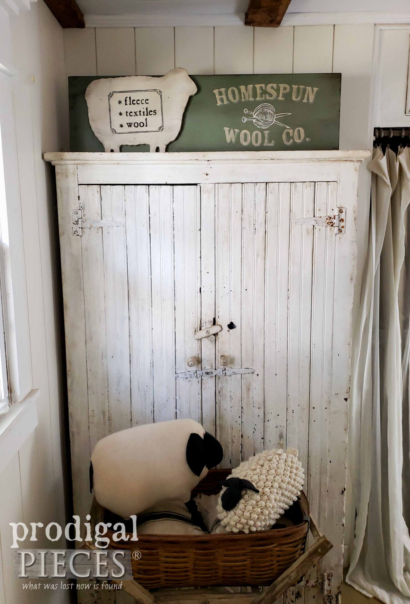 Simple Farmhouse Bedroom with Handmade Wool Co. Sign by Larissa of Prodigal Pieces | prodigalpieces.com #prodigalpieces #farmhouse #home #diy #homedecor