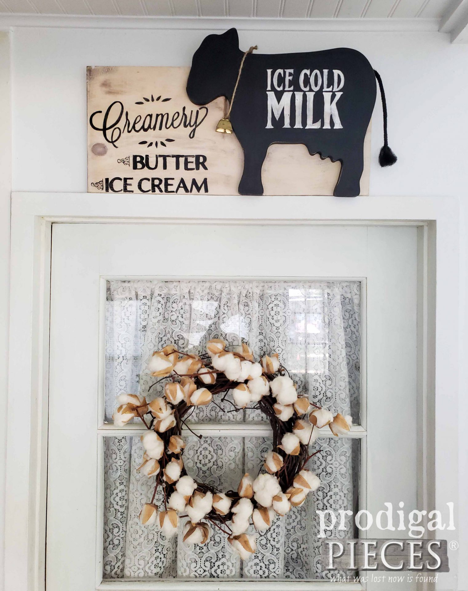 DIY Farmhouse Creamery Sign Created from Thrifted Finds by Larissa of Prodigal Pieces | prodigalpieces.com #prodigalpieces #farmhouse #home #homedecor #diy