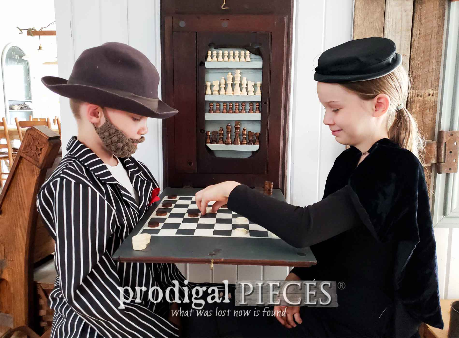 Featured Upcycled Antique Sewing Machine Top into Chess & Checkerboard by Larissa of Prodigal Pieces | prodigalpieces.com #prodigalpieces #diy #farmhouse #toys #games #home #homedecor