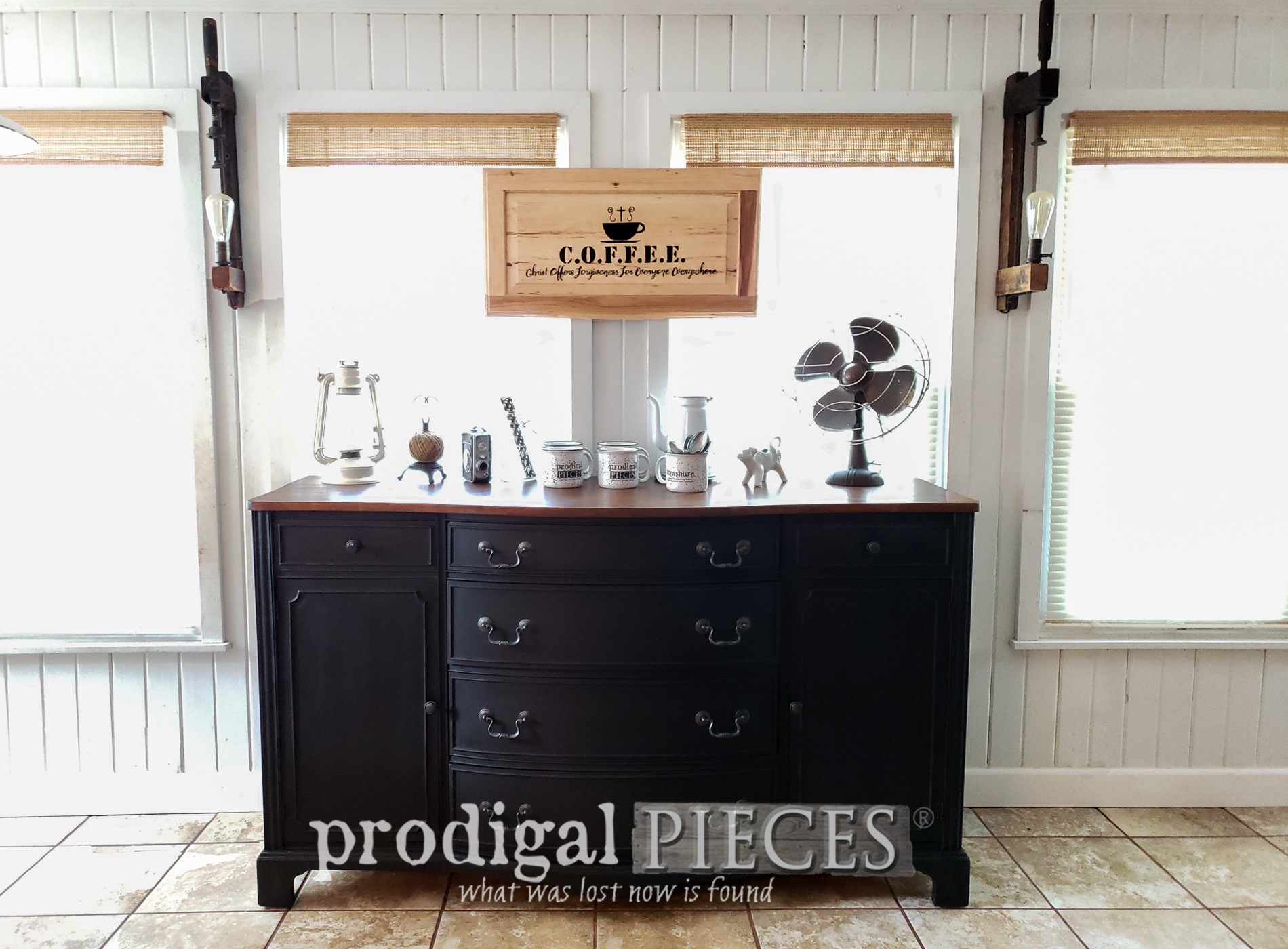 This Vintage Buffet Makeover is one to see! A DIY coffee bar for a ministry that is making a difference. Head to Prodigal Pieces | prodigalpieces.com #prodigalpieces #farmhouse #industrial #steampunk #furniture #vintage #home #homedecor #diy