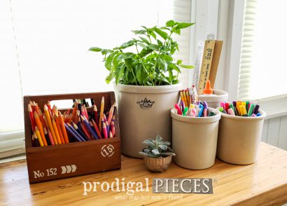 Featured Vintage Crocks by Roseville for Farmhouse Decor & Storage | Prodigal Pieces | prodigalpieces.com #prodigalpieces #diy #farmhouse #storage #home #homedecor