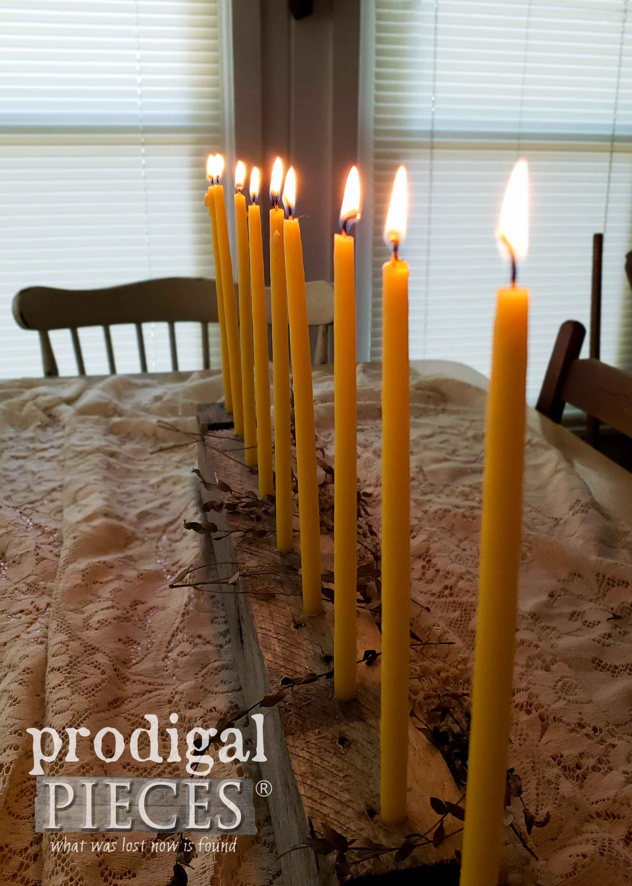 Handmade Beeswax Candles in Farmhouse Pallet Centerpiece by Prodigal Pieces | prodigalpieces.com #prodigalpieces #handmade #home #candles #farmhouse #homedecor