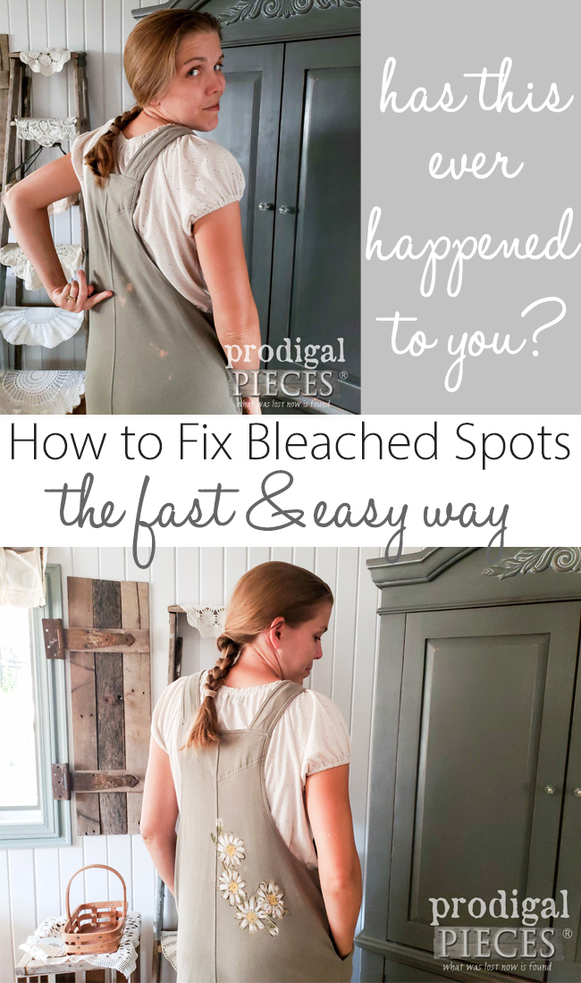 Don't toss those damaged clothes. Larissa of Prodigal Pieces shows you how to fix bleached spots (or stains) with a video tutorial for a DIY stencil | Head to prodigalpieces.com #prodigalpieces #diy #fashion #clothing #women #howto #hacks #crafts