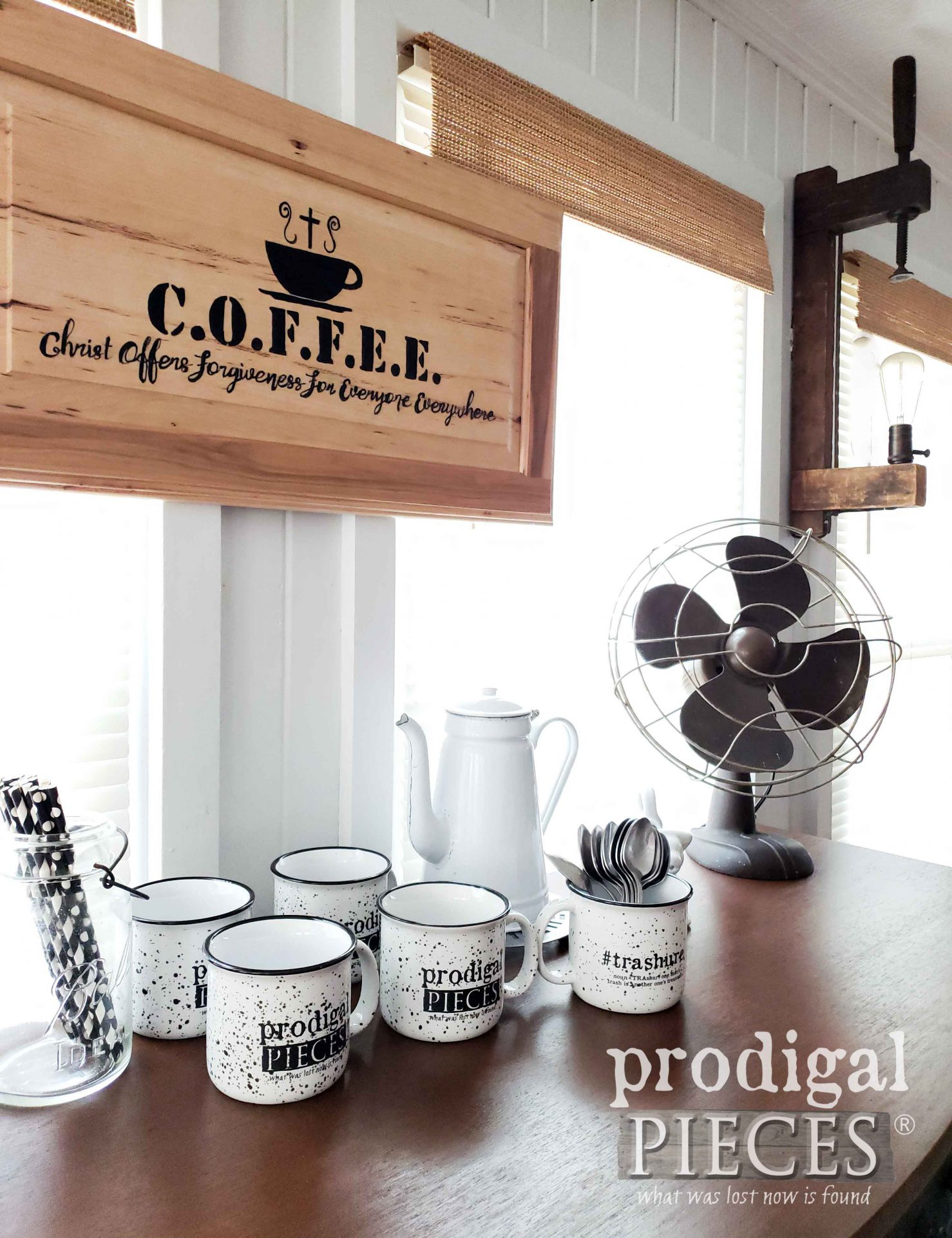 DIY Industrial Farmhouse Coffee Bar Created with Vintage Buffet by Larissa of Prodigal Pieces | prodigalpieces.com #prodigalpieces #diy #home #farmhouse #homedecor #furniture #coffee