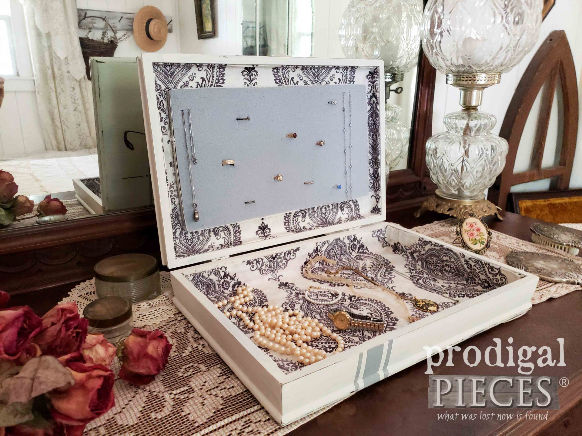 Jewelry Box with French Fleur de Lis Design from Upcycled Silverware Box by Prodigal Pieces | prodigalpieces.com #prodigalpieces #jewelry #diy #home #homedecor