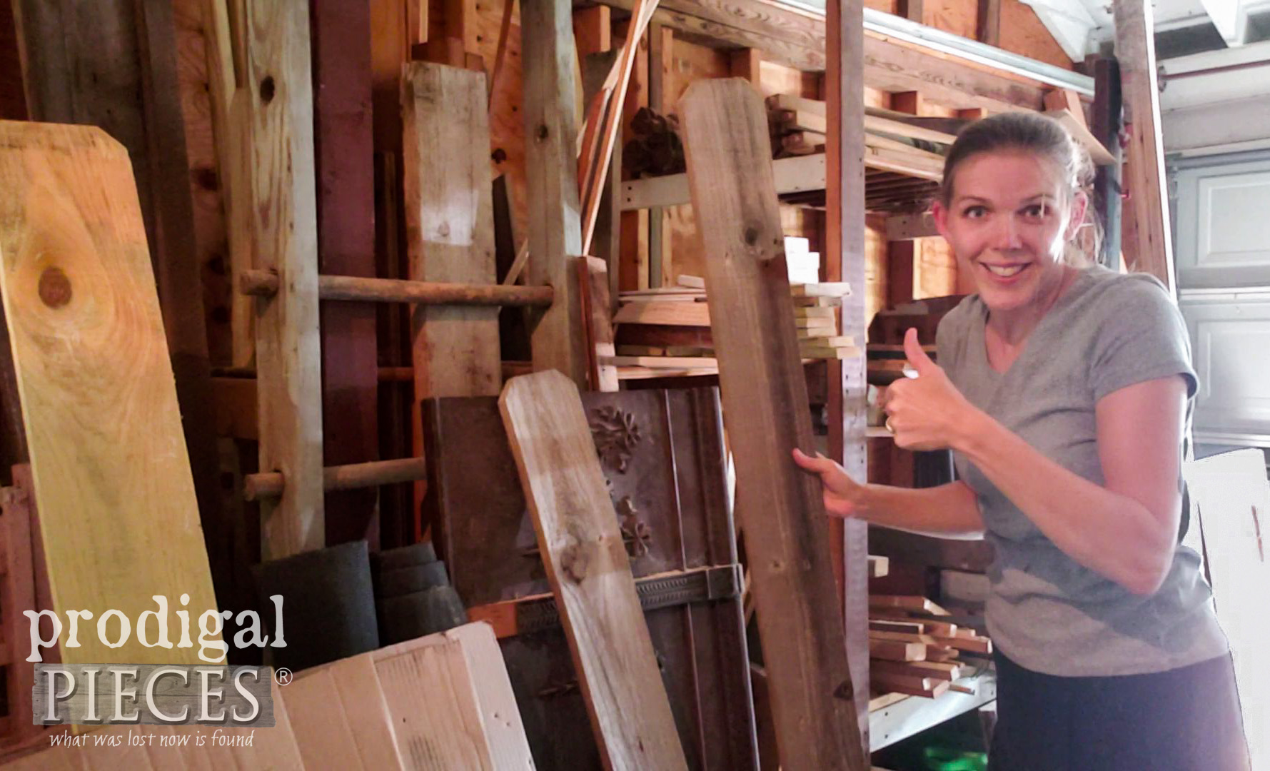 Larissa of Prodigal Pieces digging in her wood stash | prodigalpieces.com