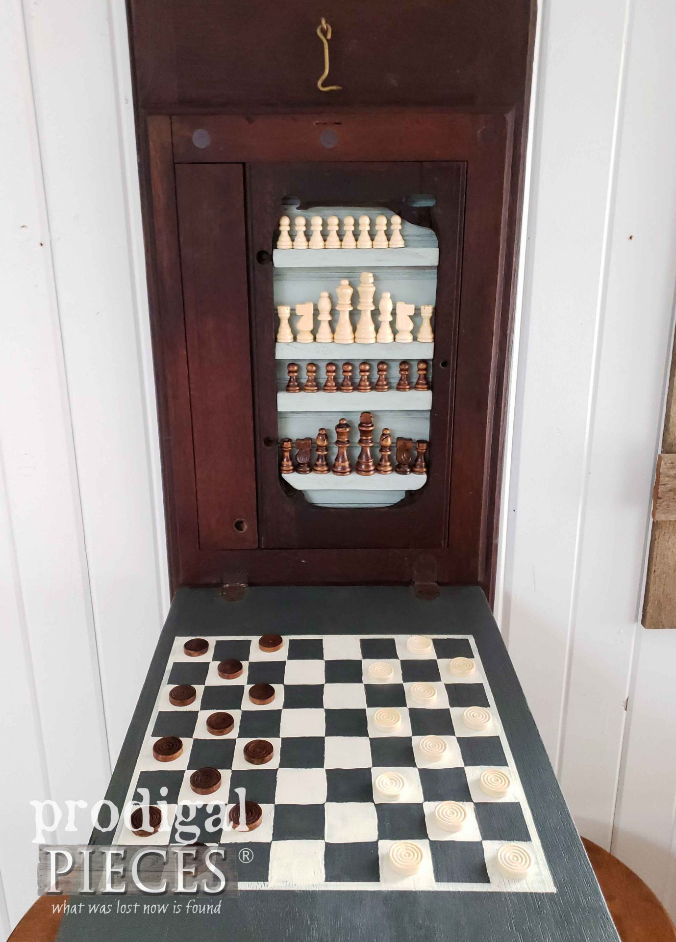 Open Handmade Chessboard from Upcycled Parts by Larissa of Prodigal Pieces | prodigalpieces.com #prodigalpieces #handmade #home #games #farmhouse #homedecor