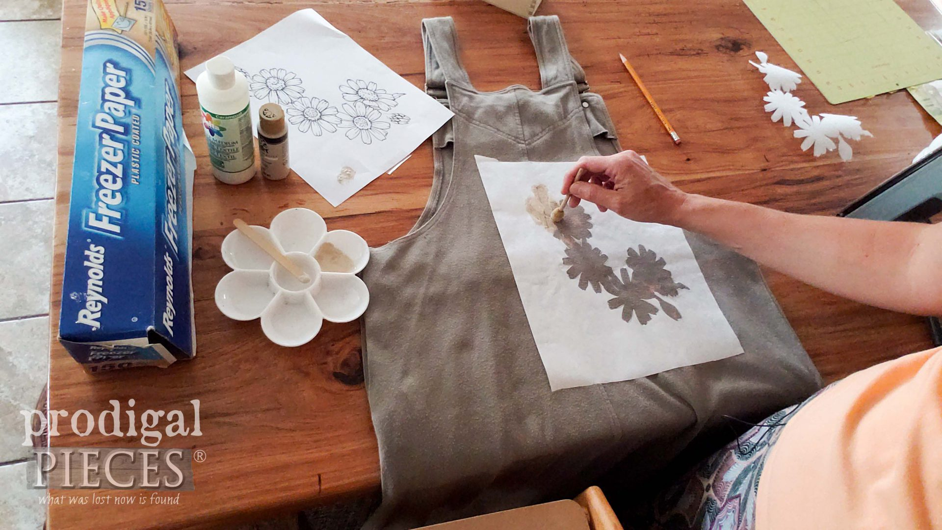 How to Fix Bleached Spots on Garments with Paint and DIY Stencil   prodigalpieces.com
