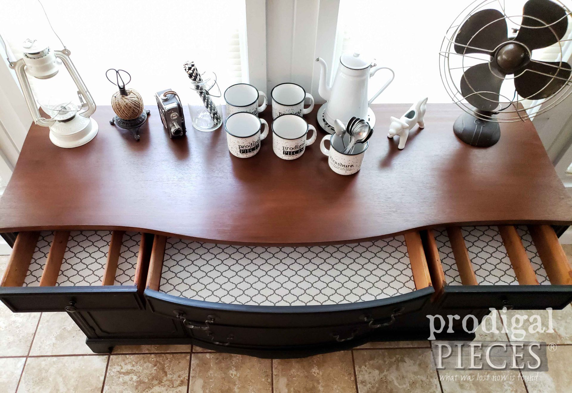 Paper-Lined Buffet Drawers for an Updated Look to this Vintage Buffet Makeover by Larissa of Prodigal Pieces   prodigalpieces.com #prodigalpieces #home #homedecor #farmhouse #furniture