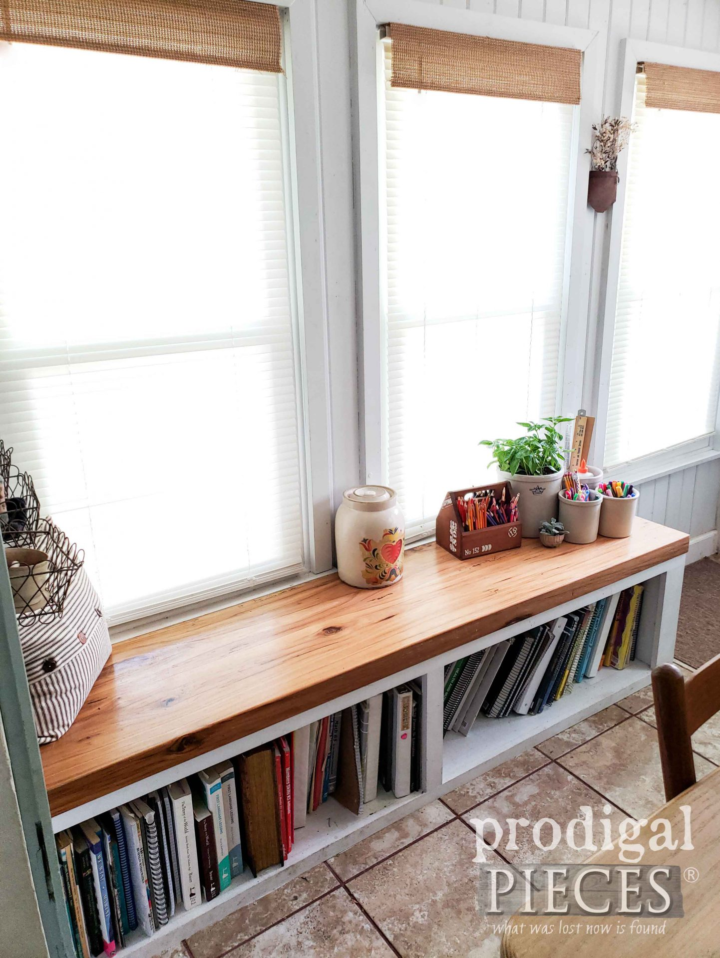 Reclaimed Hickory Wood Bookshelf with Built-In Bench by Larissa of Prodigal Pieces | prodigalpieces.com #prodigalpieces #diy #farmhouse #home #reclaimed #homedecor #diy