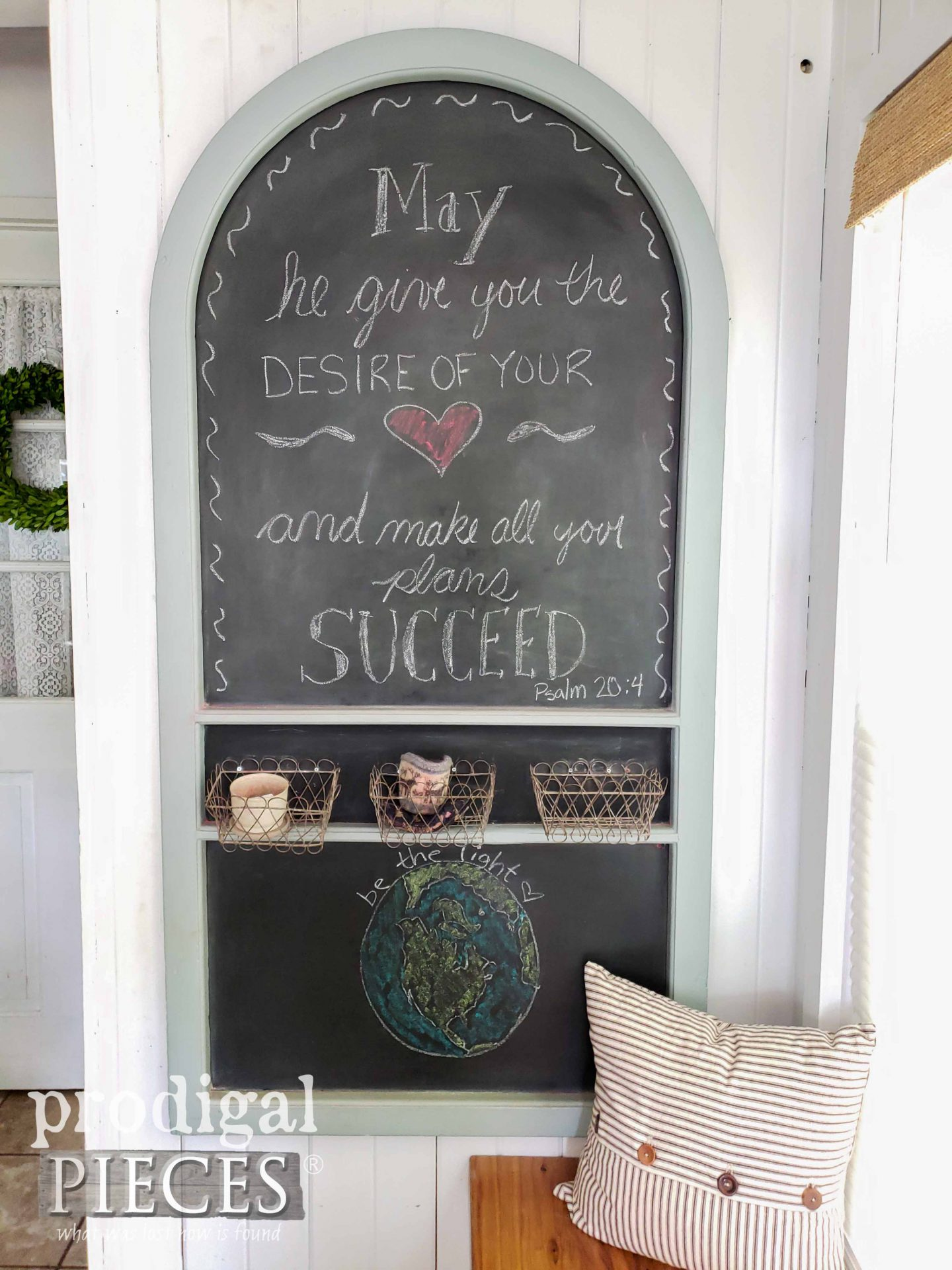 Scripture Verse on Upcycled Screen Door Chalkboard | prodigalpieces.com #prodigalpieces #diy #home #farmhouse #homedecor