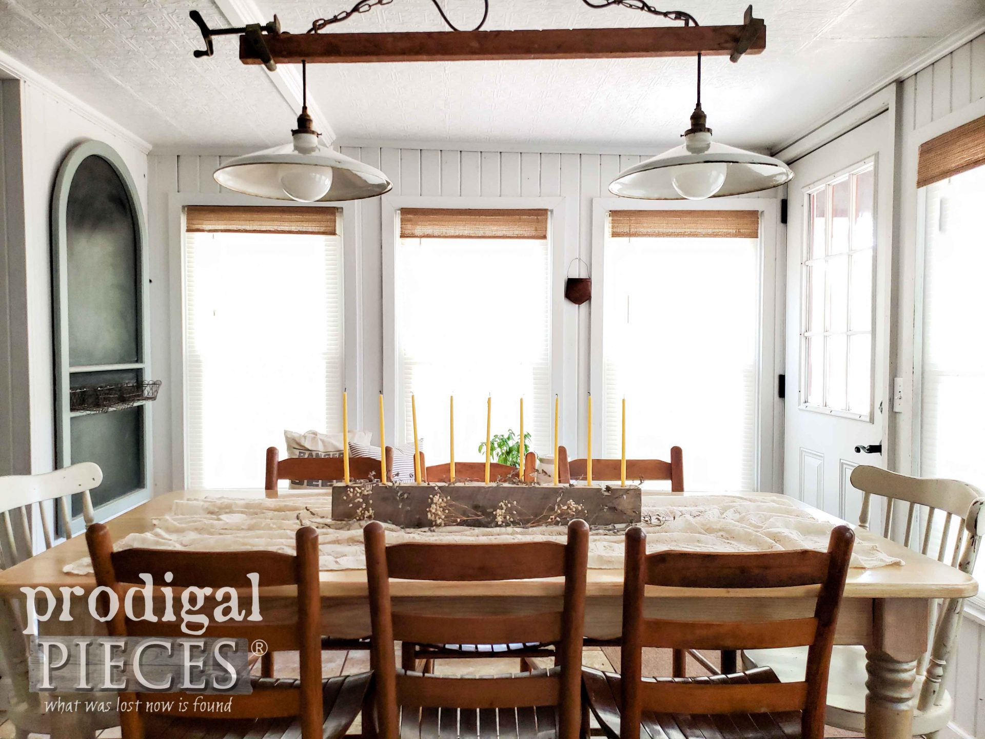 Simple Farmhouse Dining Table with Rustic Candle Centerpiece | prodigalpieces.com #prodigalpieces #dining #home #farmhouse #homedecor