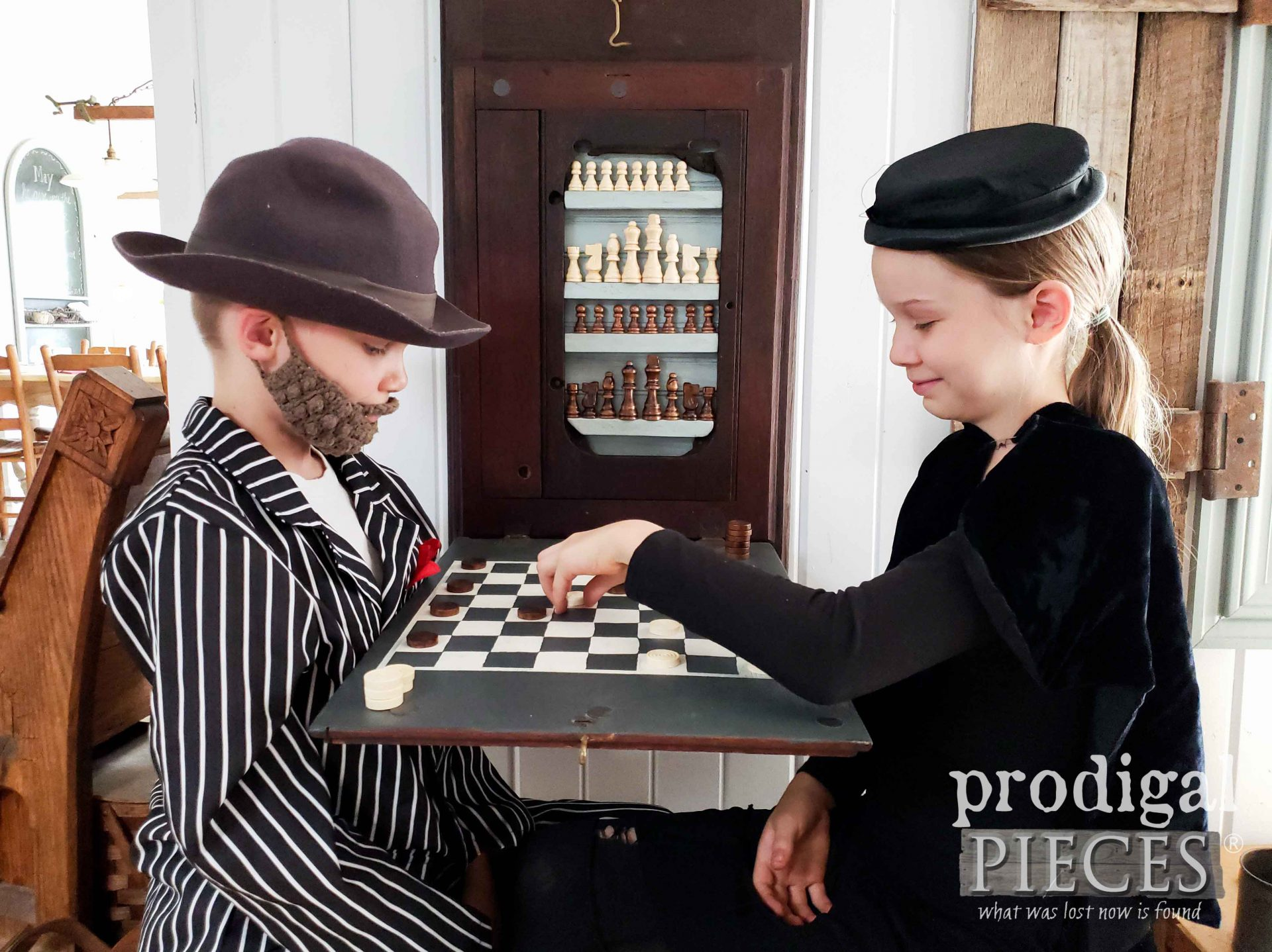 Upcycled Sewing Machine Top is Transformed into a Created Chess & Checkerboard Set by Larissa of Prodigal Pieces | prodigalpieces.com #prodigalpieces #diy #farmhouse #handmade #home #homedecor #toys