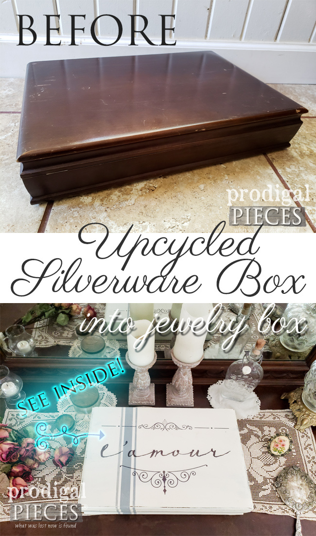 Grab that old silverware box and upcycle it into something new. Larissa of Prodigal Pieces shows you how in this DIY jewelry box tutorial | prodigalpieces.com #prodigalpieces #diy #home #homedecor #farmhouse #jewelry