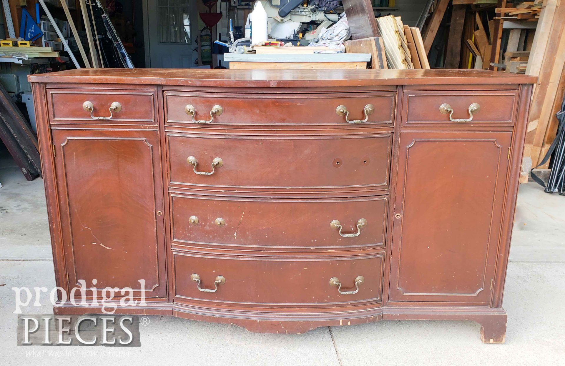 Vintage Buffet Makeover Before | prodigalpieces.com