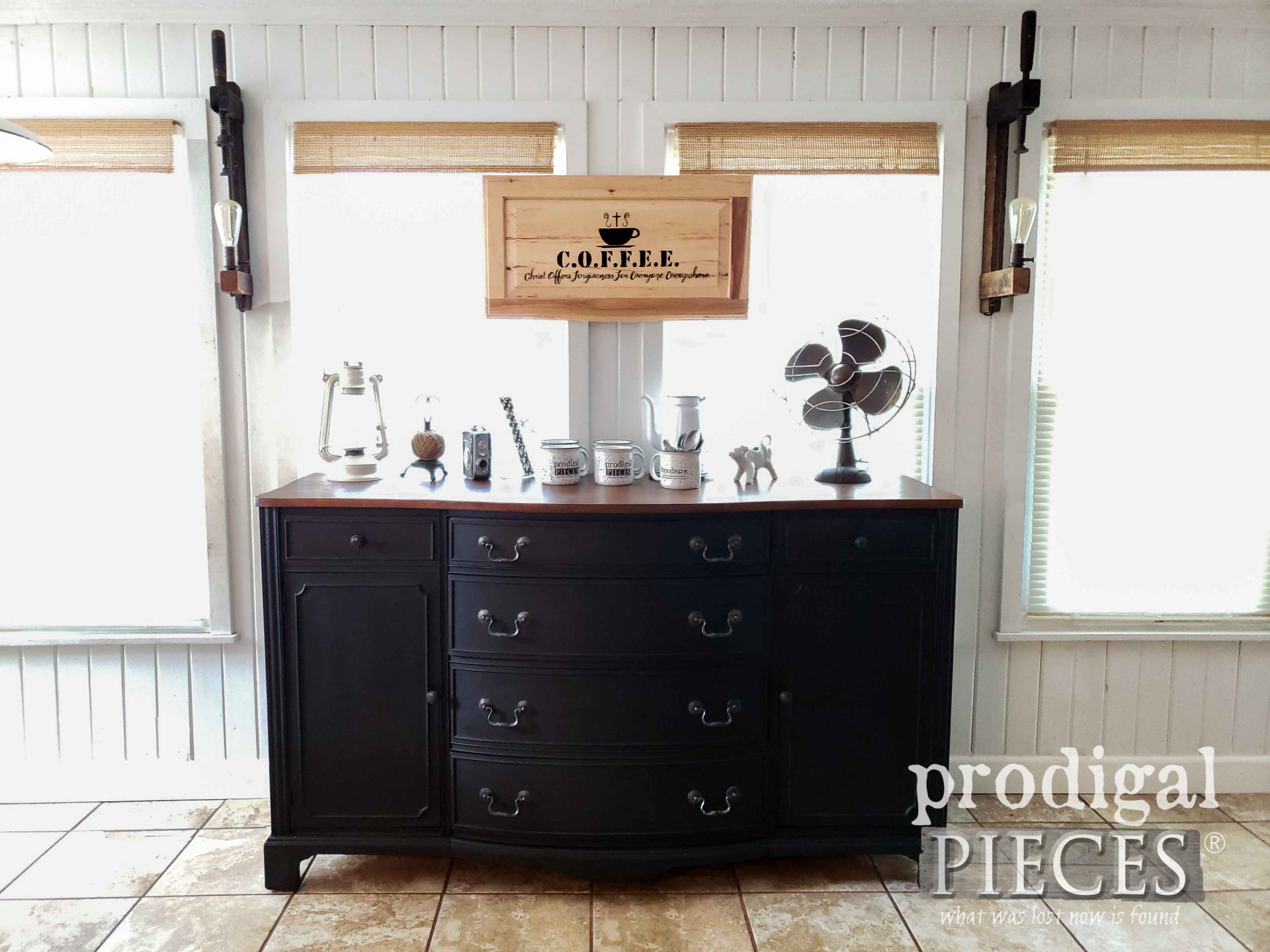 Vintage Buffet Refinished in a Soft Black for a Farmhouse Industrial Coffee Bar by Larissa of Prodigal Pieces | prodigalpieces.com #prodigalpieces #diy #furniture #vintage #home #farmhouse #homedecor #coffeebar