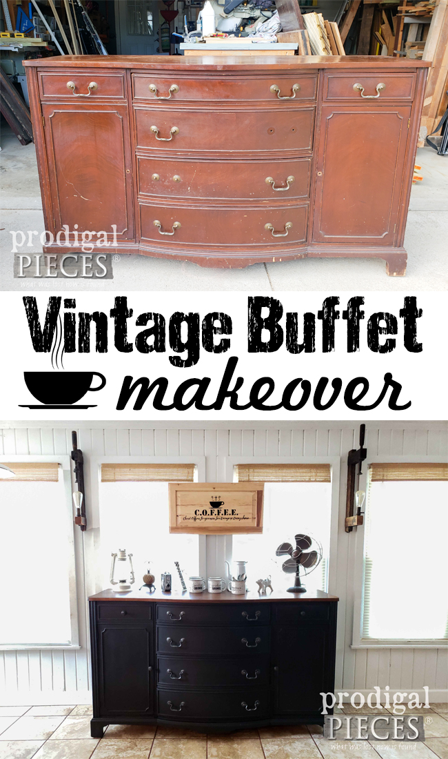 This vintage buffet makeover is one to see. Larissa of Prodigal Pieces gives it new life and purpose as a DIY Coffee Bar | Head to prodigalpieces.com #prodigalpieces #diy #home #coffee #farmhouse #homedecor