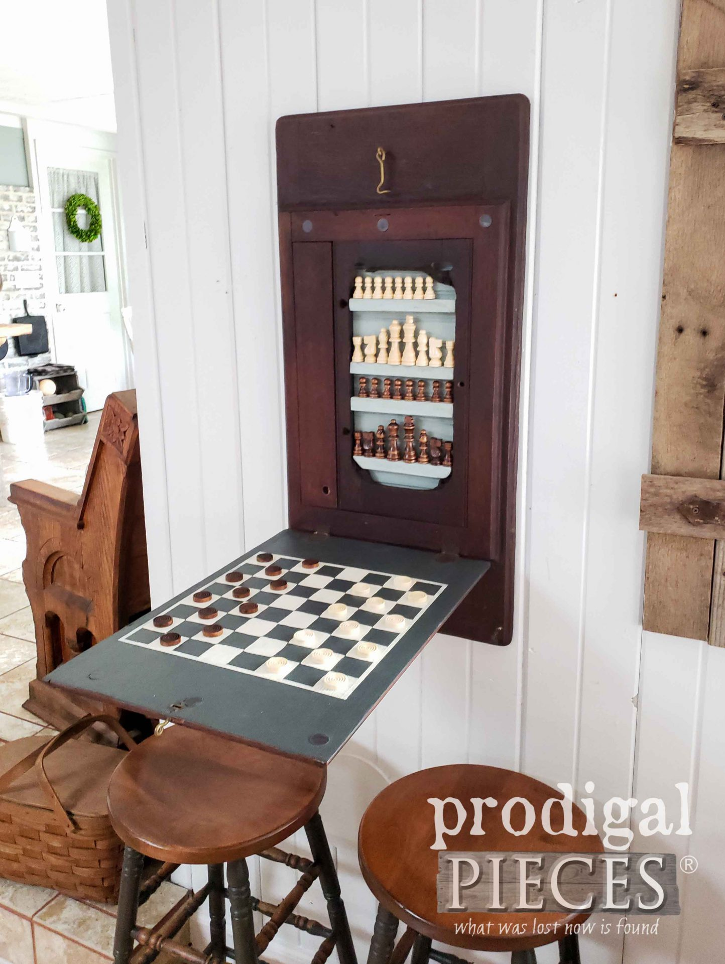 Wall-Mounted Chess & Checkerboard created by Larissa of Prodigal Pieces | prodigalpieces.com #prodigalpieces #farmhouse #games #diy #home #homedecor