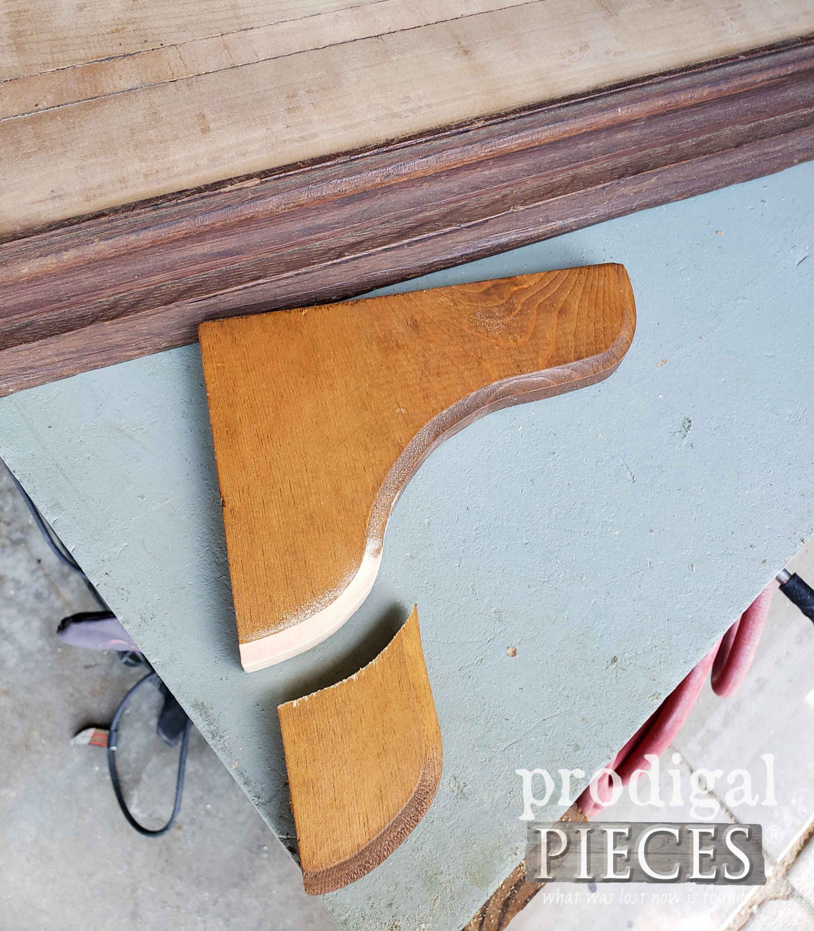 Cutting Wood Corbel for DIY Checkerboard | prodigalpieces.com