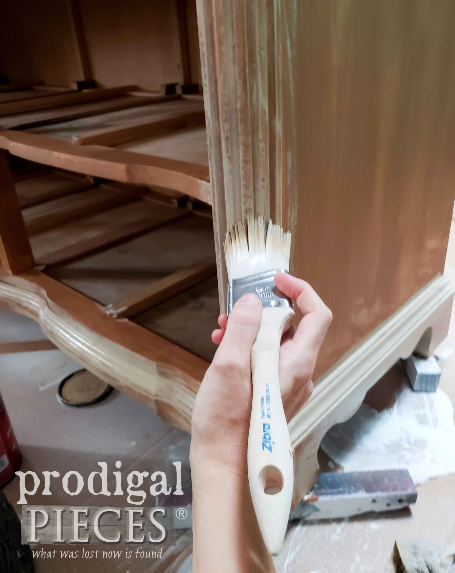 Adding a Second Layer of Paint to Vintage Serpentine Dresser | prodigalpieces.com #prodigalpieces